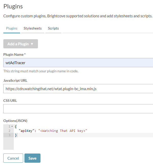 Brightcove plugin settings